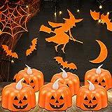 12 Pcs Kürbis Teelichter Kerzen,3D Halloween Kürbis Lichter,Kürbis Kerzen Flammenlose,Halloween Teelicht Deko Pumpkin,LED Flammenlose Kerzen für Halloween Deko,Hochzeit Party, Weihnachten(Smiley) - 3