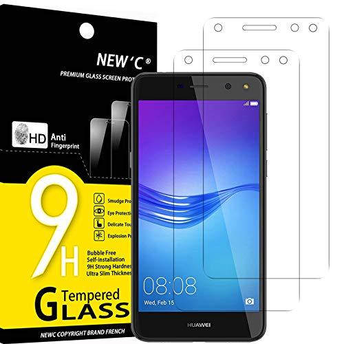 NEW'C 2 Stück, Schutzfolie Panzerglas für Huawei Y6 2017, Frei von Kratzern, 9H Festigkeit, HD Bildschirmschutzfolie, 0.33mm Ultra-klar, Ultrawiderstandsfähig
