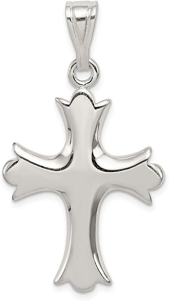 Solid 925 Sterling Silver Fleur Max 74% OFF De - Charm 43m Max 85% OFF Cross Pendant Lis