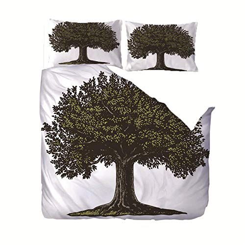 Duvet Cover Set Single(55x78.7 inch) Big tree Bedding Printed Ultra Soft Hypoallergenic Microfiber with Zipper Closure + 2 Pillowcases 20x29.5 inch