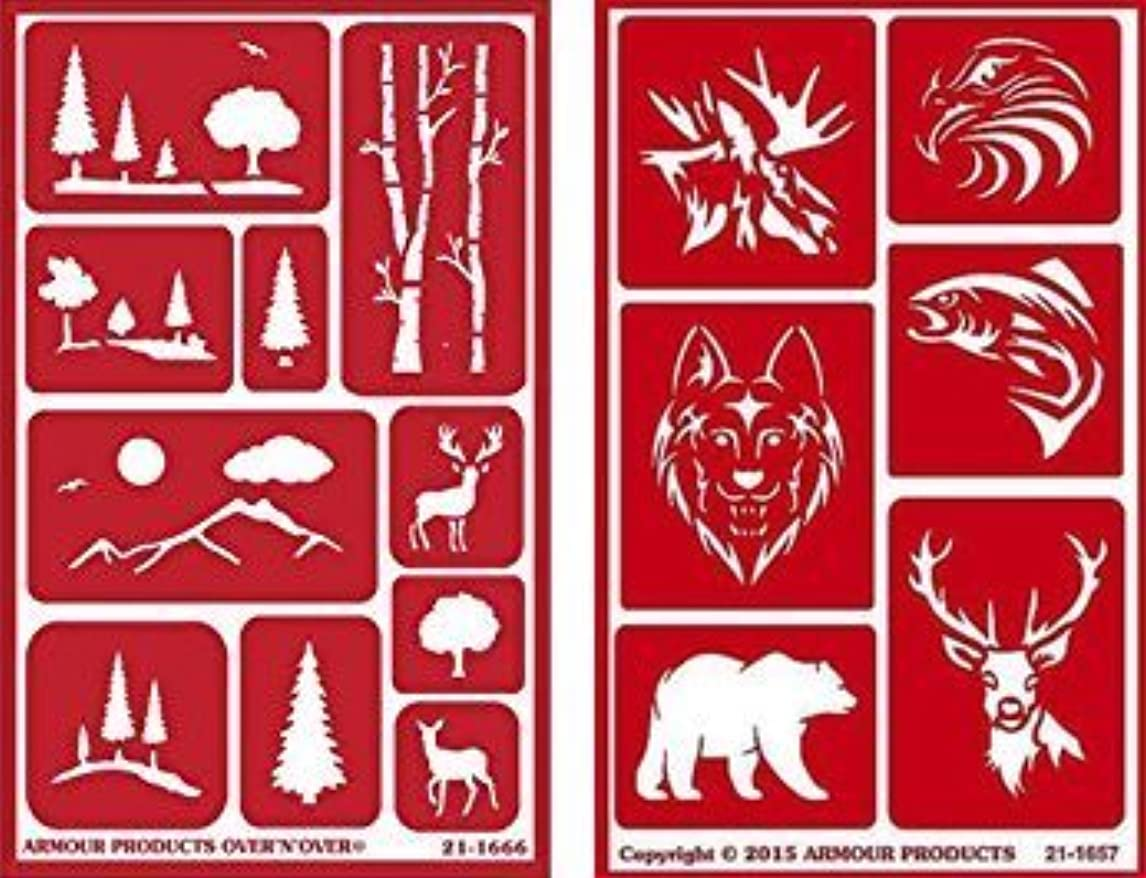 Over 'n' Over Reusable Self-Stick Etching Stencil for Glass (or Stamping) - Bundle of Two Sets - Landscapes & Wild Animals iuqzx39704207180