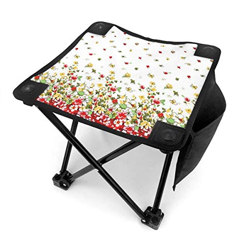 Taburete plegable de acuarela floral abeja mariposa portátil silla camping caza pesca viaje con bolsa de transporte