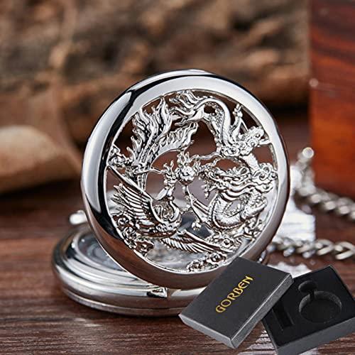 SSJIA Reloj de Bolsillo mecánico Dragon Ball Flip Reloj con Cadena para Hombres, Mujeres, con Caja