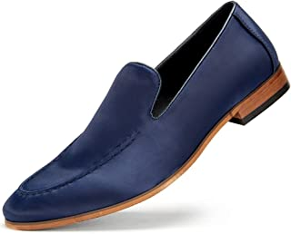 Cestfini Men's Satin Dress Shoes - Slip-on Satin Loafers Classic Leather Lined Formal Shoes