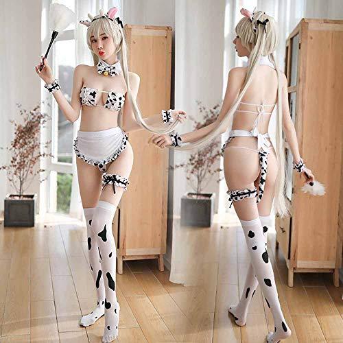 11pcs Sexy Cow Cosplay Costume Set Cute Womens Lingerie Anime Bikini Anime Lolita Cosplay Maid Underwear Babydoll Nightwear headband+collar+bow tie+bra+panties+bracelet*2+tail+apron+leg ring+stockings