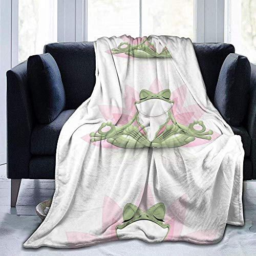 DWgatan Couverture,Couvre-lit de canapé Polyvalent Doux et Chaud de qualité Cute Funny Frog Doing Yoga Printed Blanket for Bedroom Living Room Couch Bed Sofa -50\