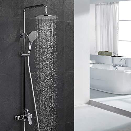 ubeegol Duscharmatur Regendusche Duschsystem Duschsäule mit Einhebelmischer Mischbaterie Duschgarnitur Aufputz Duschset Duschstange Duschkopf Überkopfbrause Komplettset für Bad