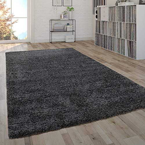Paco Home Tapis Shaggy Poils Longs Moelleux Salon Entretien Facile Moderne Uni Anthracite, Dimension:133x190 cm