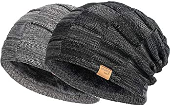 Vgogfly Slouchy Beanie for Men Winter Hats for Guys Cool Beanies Mens Lined Knit Warm Thick Skully Stocking Binie Hat Black/Dark Grey
