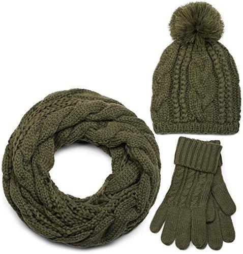 styleBREAKER Schal, Mütze und Handschuh Set, Zopfmuster Strickschal mit Bommelmütze und Handschuhe, Damen 01018208, Farbe::Oliv / Loop Schlauchschal (One Size)