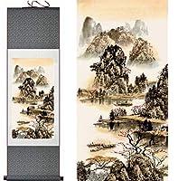 山と川の絵画中国の巻物の絵画風景画-140cmx45cm_Green_package