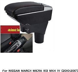La caja de cuero de almacenamiento ABS, negro Titular del resto del brazo con la taza de Turnable Cenicero apoyabrazos, for NISSAN MICRA K13 MARZO MK4 IV (2010-2017) 7.13