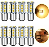 UNXMRFF - Super Bright 1142 BA15D LED Bulbs, 1178 LED 5050 18-SMD Warm White 1076 LED Bulb Replacement For 12V RV Interior Ceiling Dome Light/Travel Trailer/Boat Indoor/Camper Light Bulbs (Pack of 8)