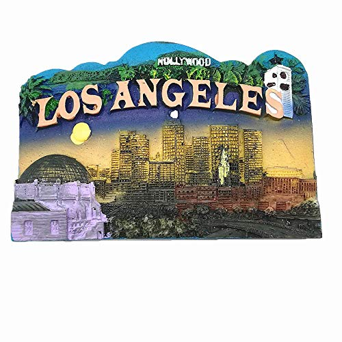 Aimant de réfrigérateur 3D Hollywood Los Angeles California USA - Décoration de maison et de cuisine - Cadeau souvenir