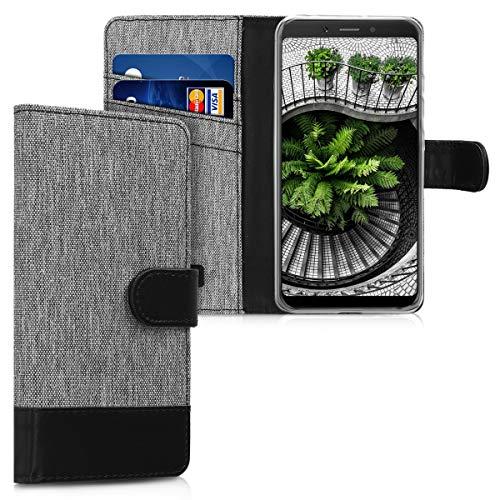 kwmobile Carcasa Compatible con Xiaomi Redmi 6A - Funda de Tela y Cuero sintético Tarjetero Gris/Negro