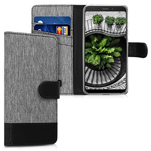 kwmobile Funda Compatible con Xiaomi Redmi 6A - Carcasa de Tela y Cuero sintético Tarjetero Gris/Negro