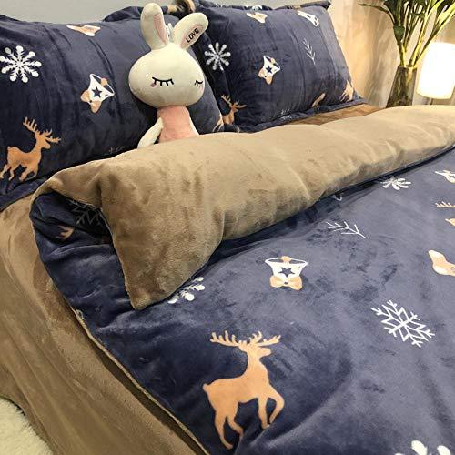 Duvet cover double bed,Thick coral fleece four-piece winter milk fleece flannel bed double-sided fleece plus fleece duvet cover sheet-GJ Christmas Jilu_1.8m bed 200x230 4pcs
