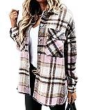 Camisa a cuadros para mujer - Camisa de mangas largas con botones - Confeccionada en tela de franela suave y abrigada - Camisa a cuadros, estilo informal y moderno Rosa/gris. XL