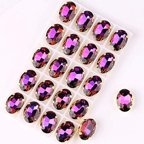 20 unids/lote oval oro garras/lote arco iris y jalea Ab color cristal cosido en el Rhinestone apliques DIY