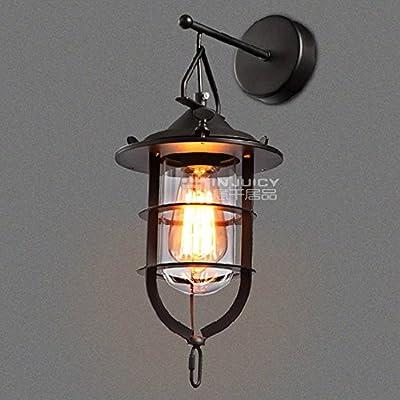 Injuicy Lighting Vintage Retro Iron Industrial Led Tungsten Sconces Wall Light Lamps Fixtures Outdoor Indoor Lighting 110V 40W Boat Bedroom Balcony Living Room Loft Bar Cafe Home Edison Lamp Decor
