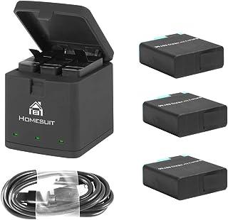 Homesuit 最新型 Gopro HERO 8 /7 /6 対応 バッテリー 3*1500mAh 交換バッテリー+用収納ボックス式 3ポートUSB充電器 同時充電可能 バッテリーチャージャー セット USB Type-Cインターフェイス