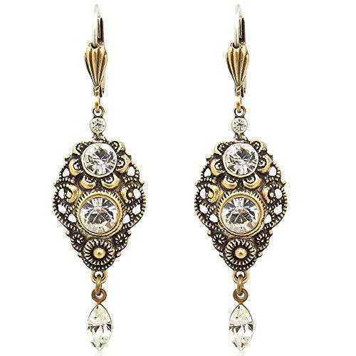NOBEL SCHMUCK Jugendstil Ohrringe mit Kristallen von Swarovski® Gold Crystal
