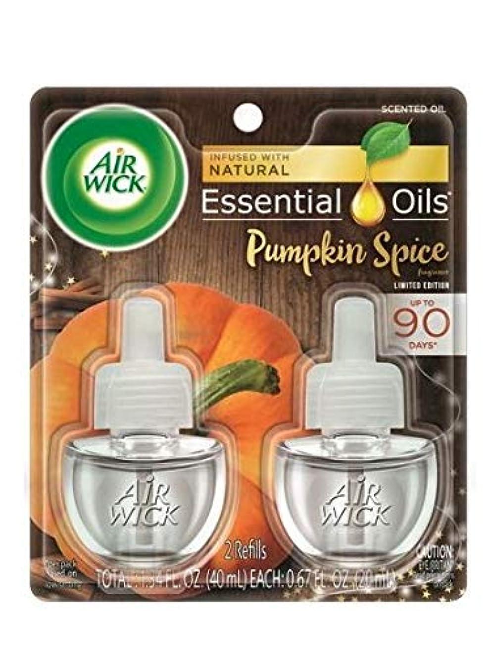 カラス残高玉【Air Wick/エアーウィック】 プラグインオイル詰替えリフィル(2個入り) パンプキンスパイス Air Wick Scented Oil Twin Refill Pumpkin Spice (2X.67) Oz. [並行輸入品]