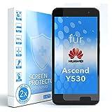 EAZY CASE 2X Panzerglas Bildschirmschutz 9H Festigkeit kompatibel mit Huawei Ascend Y530, nur 0,3 mm dick I Schutzglas aus gehärteter 2,5D Panzerglasfolie, Bildschirmschutzglas, Transparent/Kristallklar