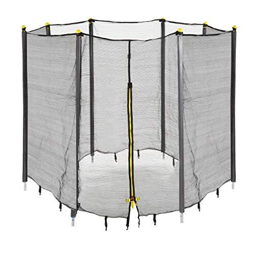 Relaxdays Unisex Jugend, schwarz Trampolin Netz, Fangnetz für Gartentrampolin, mit 8 gepolsterten Stangen, Sicherheitsnetz, Ø 366 cm