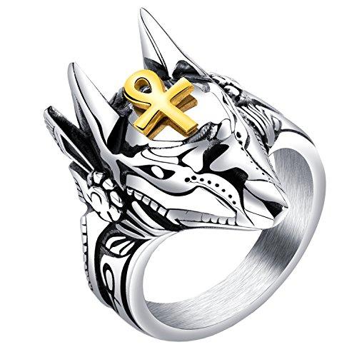 HIJONES Antiguo Egipto Dios Anubis Oro Ankh Cruz Amuleto Anillo para Hombre de Acero Inoxidable Talla 22