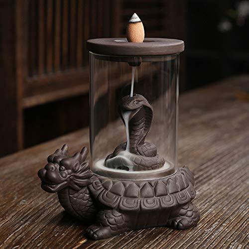 Handmade Backflow Incense Burner Dragon Turtle Waterfall Incense Burner with 40 Incense Cones 50 Incense Sticks Sets Ceramic Home Decor Gift Decorations Statue Incense Holder
