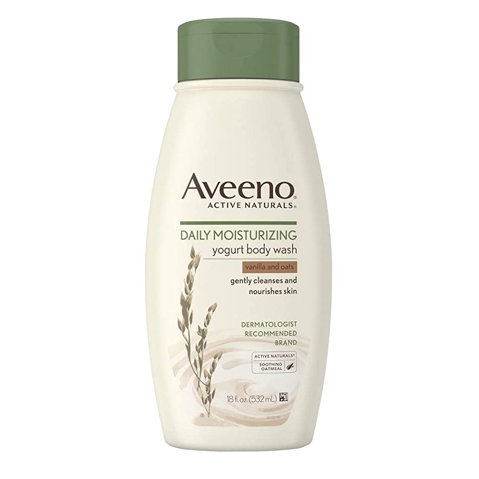 Aveeno Body Wash Yogurt Vanilla & Oats 18 Ounce (532ml) (6 Pack)
