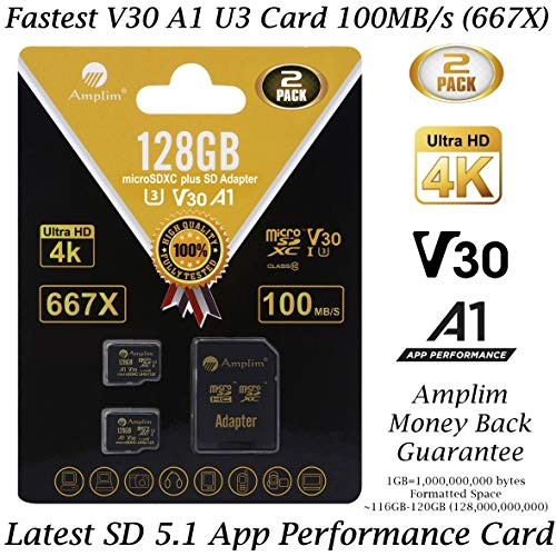 2-Pack 128GB Micro SD SDXC Card Plus Adapter Pack - Amplim 2X 128 GB MicroSD Card V30 A1 U3 C10 Extreme Speed 100MB/s UHS-I TF XC MicroSDXC Memory Card for Cell Phone, Nintendo, Galaxy, Fire, Gopro