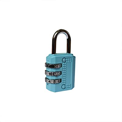 Xmomx Blue 4 x Resettable 3 Dial Digit Combination Password Code Lock Padlock for Suitcase Luggage Travel Baggage Backpack School