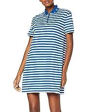 تومي هيلفيغر فستان فوق الركبة للنساء، مقاس XL، ازرق وابيض- DW0DW06176