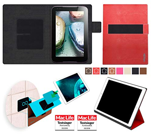 Hülle für Lenovo IdeaTab A1000 Tasche Cover Hülle Bumper | in Rot Leder | Testsieger