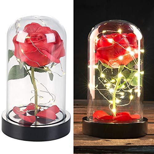 Lunartec Rose im Glas: Edle Kunst-Rose mit LED-Beleuchtung in Echtglas-Kuppel, rot (Rose im Glas mit LED)