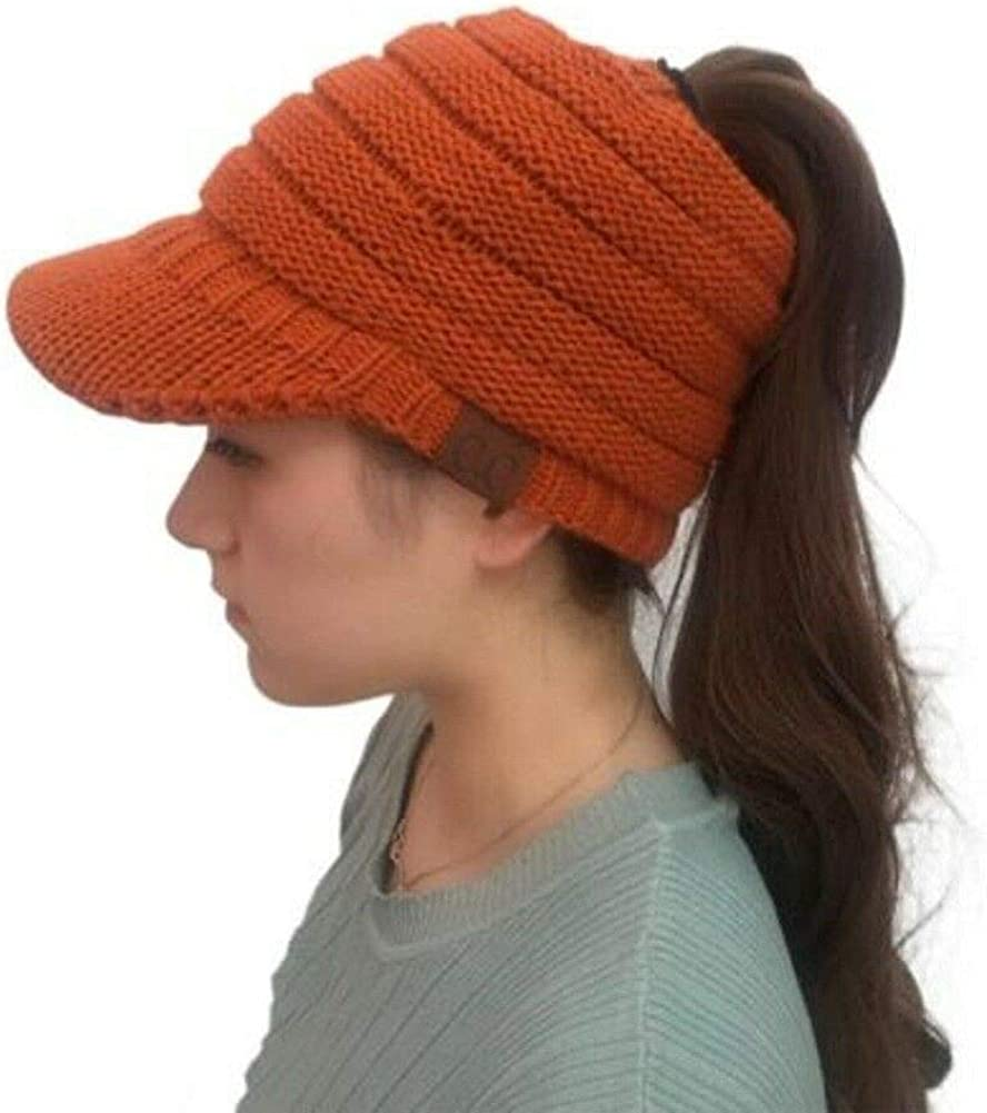 JP Soft Stretch Knit High Bun Ponytail Skully Warm Beanie Toboggan Brim Hat Cap (Orange)