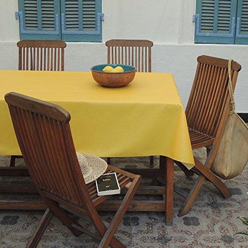 Nappe coton enduit Unis jaune 120x180 ~ Fleur de Soleil