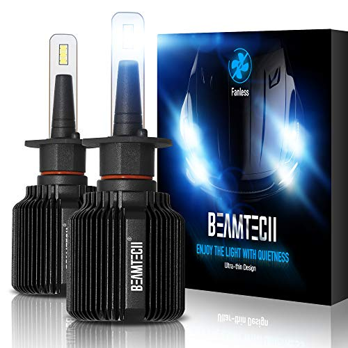 BEAMTECH H1 LED Bulb,Fanless CSP Y19 Chips 6500K Xenon White Extremely Bright Conversion Kit Ultra Thin All In One Low Fog Light
