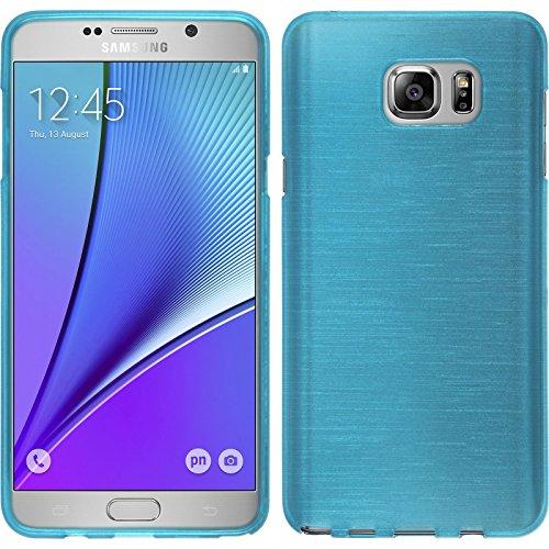 PhoneNatic Custodia Samsung Galaxy Note 5Blu Silicone Custodia Spazzolato con 2X Pellicola Protettiva Schermo
