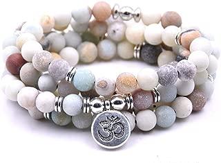 Self-Discovery 108 Natural Beads Mala Yoga Jewelry Meditation Beads Bracelet Necklace with OHM Charm