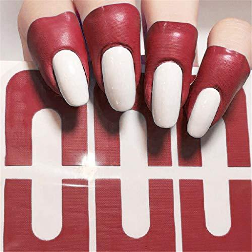 10 Stück/1 Sheet Nagellack Schablone, Einweg Nail Protector Sticker Protector Tapes Aufkleber Band Maniküre Anti Überlauf Verpackungs Nagel Schutz U-Form-Band für Nail Art (Rot)