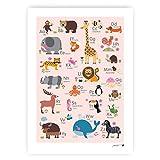 byGraziela Tier ABC Poster für Kinder | Rosa | Lernposter