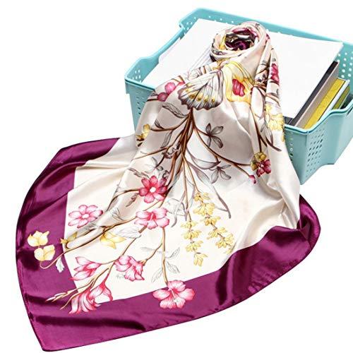 LA FERANI Elegante voorjaar zomer designer zijden doek 90x90 cm | Dames bloemen rozen doek | kleurrijke paarse halsdoek | Business zijden sjaal | sjaal multifunctionele doek dames vrouwen accessoires accessoires