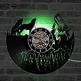 Reloj de Pared con Disco de Vinilo Modelo Lobo Reloj de Vinilo de diseño Moderno decoración 3D única Elementos de Estilo Moderno LED con 7 variaciones de Color