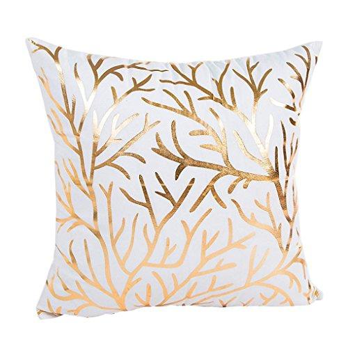 Fossrn Funda Cojines 45x45 Papel de oro Impresión Moderno Cuadrado Fundas de Almohada Decorativo Sofa Baratos (02)