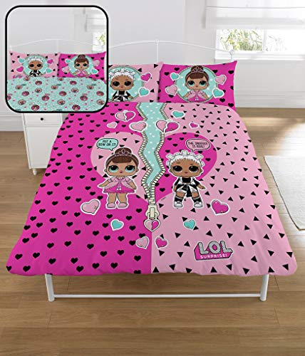 L.O.L. Surprise ! Dolls Double Duvet Set with Pillowcase L O L Surprise Reversible Design Fresh Fancy Confetti Pop LOL Bedding Blanket