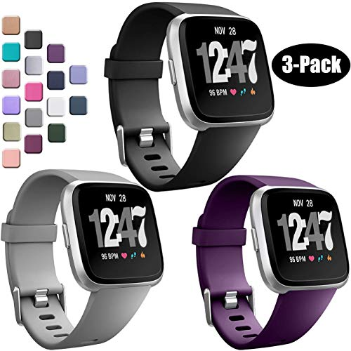 Wepro Bands Compatible with Fitbit Versa/Fitbit Versa 2/Fitbit Versa Lite SE SmartWatch for Women Men, Sports Replacement Wristband Strap for Fitbit Versa Watch, Small, 3 Pack, Black, Plum, Gray