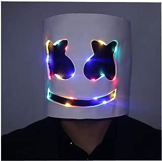 LED Light up Marshmello Music Festival Bar Props Head Mask Fortnite Game Costume